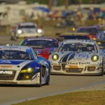 A pack of GT Daytona and GT Le Mans class cars during Saturday's Mobil 1 Twelve Hours of Sebring. (F. Pierce Williams/LAT Photo)