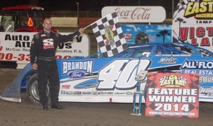 Kyle Bronson won Saturday's dirt late model feature at East Bay Raceway Park. (Mike Horne photo)