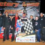 Dale McDowell in victory lane after winning Friday's National Dirt Racing League feature at Smoky Mountain Speedway. (Michael Moats Photo)