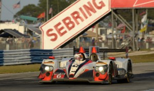 The Muscle Milk Pickett Racing entry in action at Sebring Int'l Raceway.
