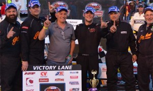 J.R. Bertuccio and team celebrate their first NASCAR Whelen Southern Modified Tour victory as Bertuccio took the checkered flag in Saturday's Southern National 150 at Southern National Motorsports Park. (Photo: Brenda Meserve)