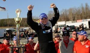 Andy Seuss celebrates after winning Sunday's NASCAR Whelen Southern Modified Tour opener at North Carolina's Caraway Speedway. (NASCAR Photo)