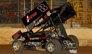 Bob Ream Jr., pictured after  winning his first Hose Advantage Store ASCS Southwest Region race at Arizona Speedway, won again in Tucson on Saturday. (ASCS/Patrick Shaw photo)