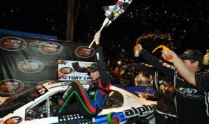 Ben Rhodes celebrates after winning his first NASCAR K&N Pro Series East event at Greenville Pickens Speedway. (NASCAR Photo)