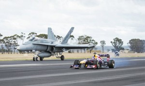 Daniel Ricciardo performs alongside Michael Kneightley in an RAAF F/A-18 Hornet at RAAF Base in East Sale, Victoria, Australia on March 12th, 2014. (Photo: Red Bull Racing)