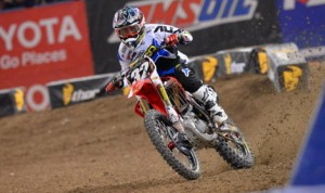 Justin Bogle on his way to his first 250cc Monster Energy AMA Supercross victory Saturday in Toronto. (GEICO Honda Photos)
