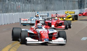 Zach Veach took the lead early and never looked back in the Indy Lights Series race in St. Petersburg, Fla..