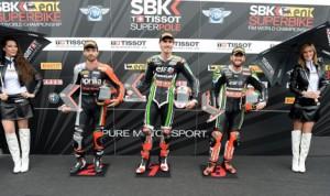 Loris Baz (center) earned his first World Superbike Superpole Friday in Assen, Netherlands. (World Superbike Photo)