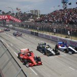 Ryan Briscoe (8), Mike Conway (20) and Mikhail Aleshin race three-wide during Sunday's Toyota Grand Prix of Long Beach. (IndyCar Photo)