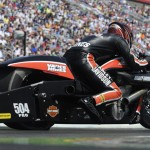Andrew Hines drove to victory in the NHRA Pro Stock Motorcycle class during Sunday's NHRA Four-Wide Nationals at zMAX Dragway. (NHRA Photo)