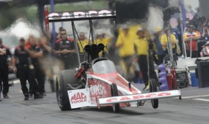 Steve Torrence topped the charts in NHRA Top Fuel qualifying at Royal Purple Raceway in Texas on Saturday. (NHRA Photo)
