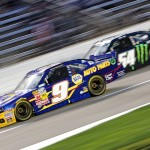 Chase Elliott (9) and Kyle Busch battle during Friday's NASCAR Nationwide Series event at Texas Motor Speedway. (HHP/Alan Marler Photo)