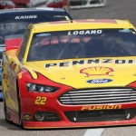 Joey Logano (22) leads Kasey Kahne during Monday's NASCAR Sprint Cup Series race at Texas Motor Speedway. (HHP/Tami Kelly Pope Photo)