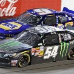 Kyle Busch (54) battles Chase Elliott during Friday's NASCAR Nationwide Series race at Darlington (S.C.) Raceway. (HHP/Alan Marler Photo)