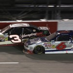 Ty Dillon (3) and Trevor Bayne battle during Friday's NASCAR Nationwide Series event at Darlington (S.C.) Raceway. (HHP/Christa L. Thomas Photo)