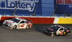 Kyle Larson (42) and Austin Dillon (3) have been the best in class so far among the 2014 NASCAR Sprint Cup Series Rookie of the Year contenders. (HHP/Christa L. Thomas Photo)