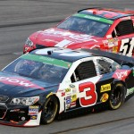 Austin Dillon (3) leads Justin Allgaier during Saturday's Toyota Owners 400 at Richmond Int'l Raceway in Richmond, Va. (HHP/Christa L Thomas)