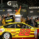 Joey Logano celebrates in Victory Lane after winning the Toyota Owners 400 at Richmond Int'l Raceway in Richmond, Va. (HHP/Christa L Thomas)