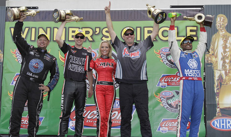 (From left) Robert Hight, Andrew Hines, Jimmy Alund and Antron Brown won their respective classes during the NHRA Four-Wide Nationals at zMAX Dragway in Concord, N.C. (HHP/Harold Hinson Photo)