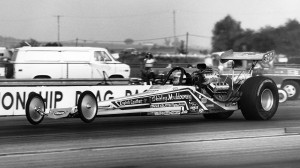 Shirley Muldowney, pictured driving her race-winning Top Fuel car in 1976, was the first woman to win an NHRA event. (NHRA photo)