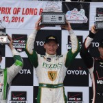 Mike Conway (center), Will Power (right) and Carlos Munoz were the top-three finishers in Sunday's Toyota Grand Prix of Long Beach. (Al Steinberg Photo)