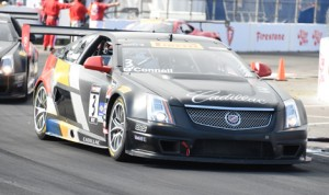 Johnny O'Connell put his Cadillac in victory lane after winning the GT portion of the Pirelli World Challenge event Sunday in Long Beach, Calif. (Al Steinberg Photo)