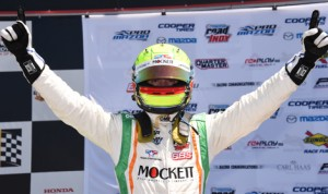 Spencer Pigot celebrates after his Pro Mazda victory Saturday at Barber Motorsports Park. (Al Steinberg Photo)
