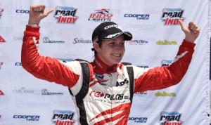 Zach Veach celebrates after winning Saturday's Indy Lights event at Barber Motorsports Park. (Al Steinberg Photo)