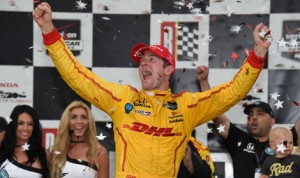 Ryan Hunter-Reay celebrates after winning Sunday's Honda Indy Grand Prix of Alabama at Barber Motorsports Park. (Al Steinberg Photo)