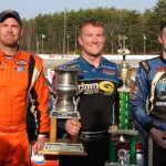 Eddie MacDonald (center) and Joey Polewarczyk Jr. (right) and Wayne Helliwell Jr. were the top three finishes in Sunday's American Canadian Tour event at Lee (N.H.) USA Speedway. (Leif Tillotson Photo)