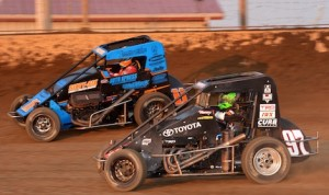 Rico Abreu (97) battles Andrew Felker during a heat race Saturday night at Kokomo Speedway. (David E. Heithaus photo)
