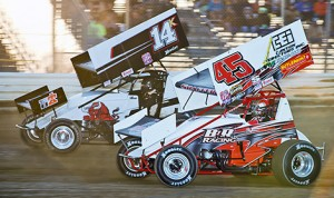 Dale Blaney (14k) battles Tim Shaffer en route to his 100th All Star sprint car victory Saturday at Ohio's Attica Raceway Park. (Mike Campbell photo)