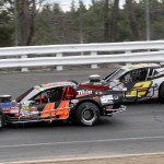 Bobby Santos (44) paces Doug Coby during NASCAR Whelen Modified action on Sunday at Stafford (Conn.) Motor Speedway. (Dick Ayers photo)