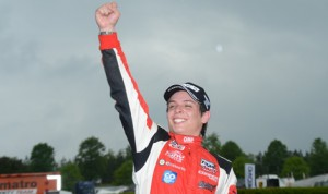 Gabby Chaves celebrates after winning Sunday's Indy Lights event at Barber Motorsports Park. (Indy Lights Photo)