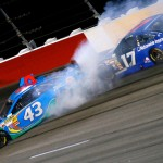 Aric Almirola (43) spins in front of Ricky Stenhouse Jr. during Saturday's Bojangles' Southern 500 at Darlington (S.C.) Raceway. (NASCAR Photo)