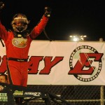 Dave Darland celebrates in victory lane after winning Saturday's AMSOIL USAC National Sprint Car Series event at Eldora Speedway in Rossburg, Ohio. (Julia Johnson Photo)