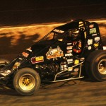 Dave Darland, pictured during the AMSOIL USAC National Sprint Car Series race at Eldora (Ohio) Speedway on April 19, has two shots at victory this weekend. (Julia Johnson Photo)