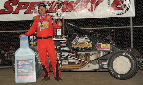 Dave Darland in victory lane Saturday at Eldora Speedway. (Julia Johnson photo)