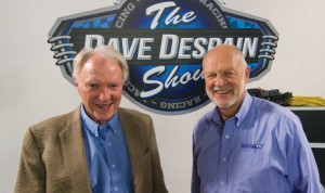 """Dave Despain (right) with Dan Gurney on the set of """"The Dave Despain Show."""""""