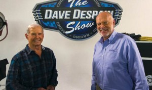 "Dave Despain (right) with Parnelli Jones on the set of ""The Dave Despain Show."""