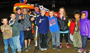 Chris Parkinson in victory lane Friday at Humboldt (Kan.) Speedway. (WAR photo)