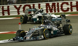 Lewis Hamilton at the Bahrain Int'l Circuit on his way to winning the 2014 Bahrain Grand Prix. (Mercedes Photo)