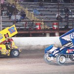 No. 17 Blake Hahn and No. 2 Wes Miller during the 2014 ASCS Gulf South Region race on April 4, at Battleground Speedway in Highlands, Texas. (Photo: RonSkinnerPhotos.com)