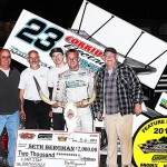 Seth Bergman in victory lane after winning the 2014 ASCS Gulf South Region race on April 4, at Battleground Speedway in Highlands, Texas. (Photo: RonSkinnerPhotos.com)