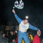 Roger Lee Newton celebrates after winning Saturday's PASS South event at Orange County Speedway. (LWPictures.com Photo)