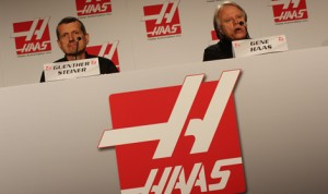 Gene Haas (right) and Guenther Steiner answer questions from the media during a press conference for Haas's new Formula One operation earlier this year in Concord, N.C. (Adam Fenwick Photo)