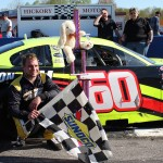 D.J. Shaw celebrates in victory lane after winning the PASS South Easter Bunny 150 on April 20 at Hickory (N.C.) Motor Speedway. (Adam Fenwick photo)