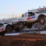 Brad Lovell (44) and Doug Mittag during Friday's TORC PRO Light event at The Dirt Track at Charlotte Motor Speedway. (Adam Fenwick Photo)