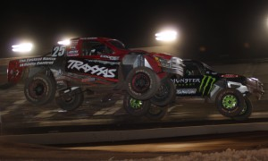 Mark Jenkins (25) battles Johnny Greaves during Friday's TORC event at The Dirt Track at Charlotte Motor Speedway. (Adam Fenwick Photo)