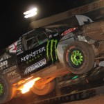 Johnny Greaves' truck flies through the air during Friday's TORC PRO 4 event at The Dirt Track at Charlotte Motor Speedway. (Adam Fenwick Photo)